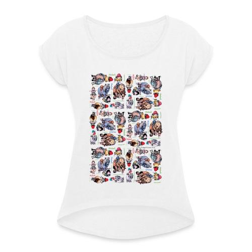 Thelwell Cartoon buntes Pony Muster - Frauen T-Shirt mit gerollten Ärmeln