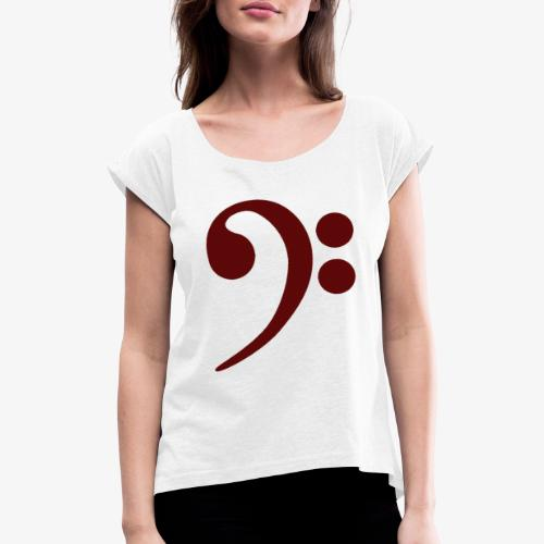 Bass-Key-4 - Frauen T-Shirt mit gerollten Ärmeln