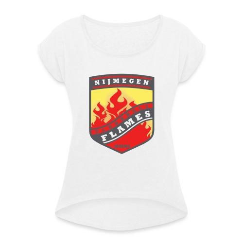 t-shirt kid-size zwart - Vrouwen T-shirt met opgerolde mouwen