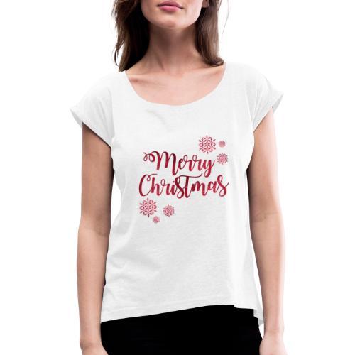 Merry christmas Noël New shape fane design vintage - T-shirt à manches retroussées Femme