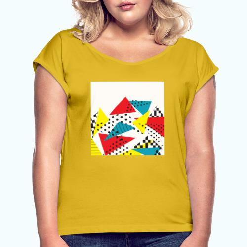 Abstract vintage collage - Women's T-Shirt with rolled up sleeves