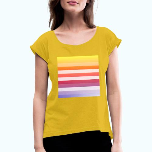 Rainbow Abstract Acrylic Painting - Women's T-Shirt with rolled up sleeves