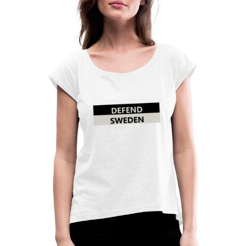 DS - T-shirt med upprullade ärmar dam