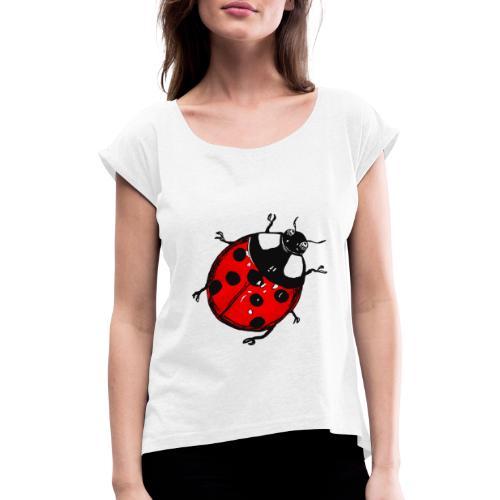 Marienkäfer - Frauen T-Shirt mit gerollten Ärmeln