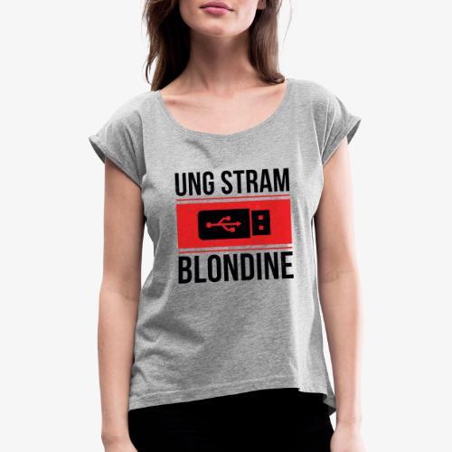 Ung Stram Blondine - Sort - Dame T-shirt med rulleærmer