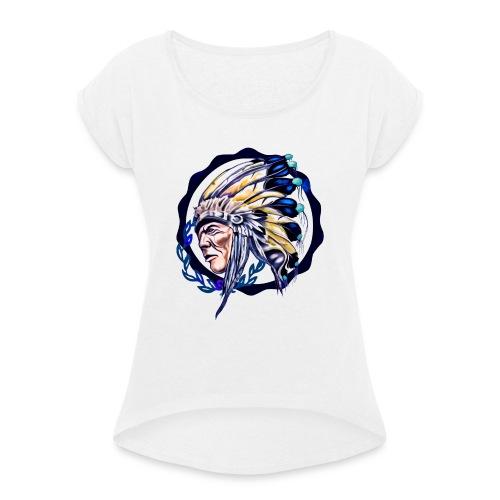 INDIO COLOR - Camiseta con manga enrollada mujer