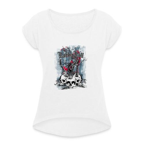 rock n roll skulls - Vrouwen T-shirt met opgerolde mouwen