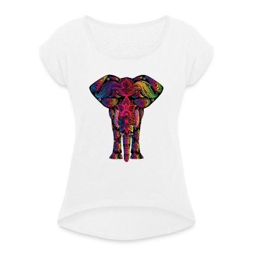 élephant - T-shirt à manches retroussées Femme