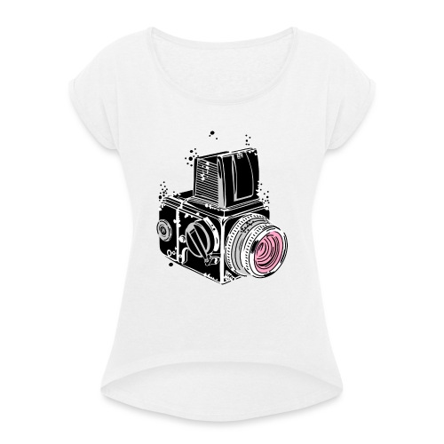 Desintegrating camera - Women's T-Shirt with rolled up sleeves