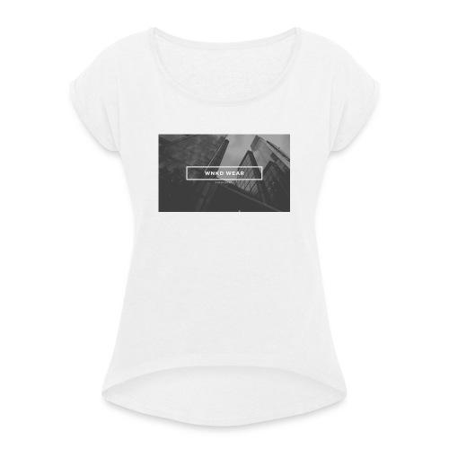 WNKD WEAR CITY BLACK - Koszulka damska z lekko podwiniętymi rękawami