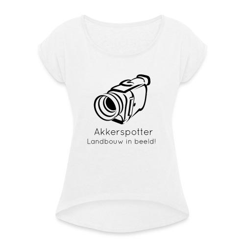 Logo akkerspotter - Vrouwen T-shirt met opgerolde mouwen