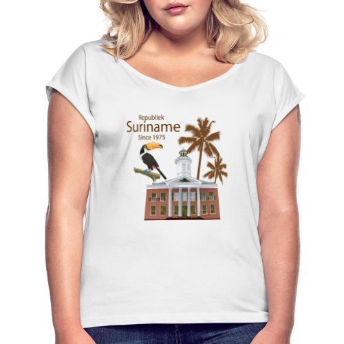 Gebouw Financiën - Vrouwen T-shirt met opgerolde mouwen