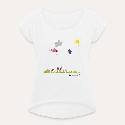 Blumenwiese von Marie - Frauen T-Shirt mit gerollten Ärmeln