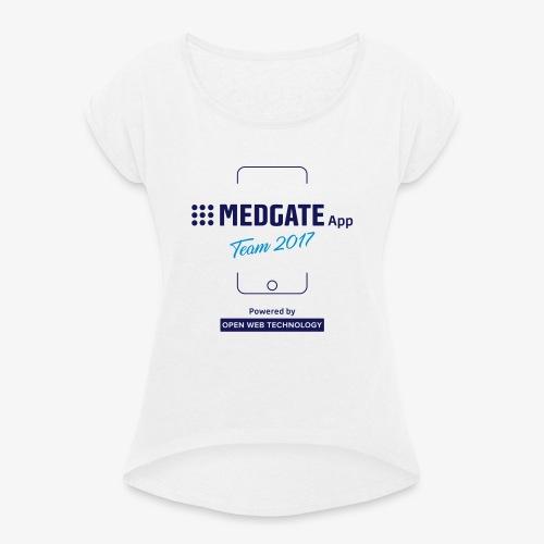 Medgate App Team 2017 White - Frauen T-Shirt mit gerollten Ärmeln