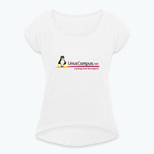 Logo linuxcampus ohneblas - Frauen T-Shirt mit gerollten Ärmeln