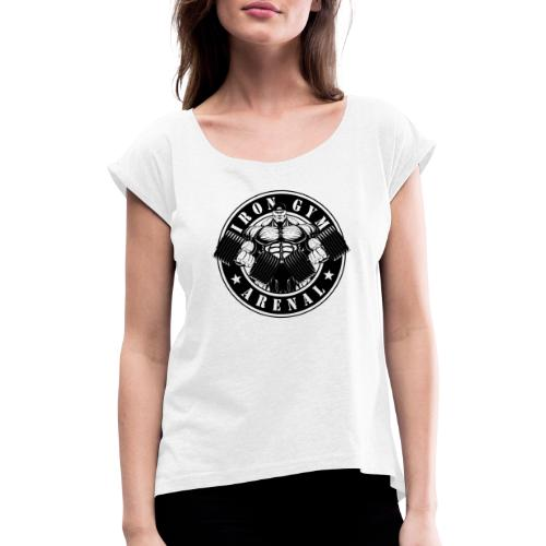 logo black 'the full-cutted stencil version' - Camiseta con manga enrollada mujer
