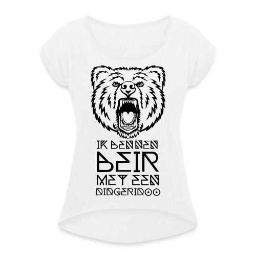 Beir met didgeridoo - Vrouwen T-shirt met opgerolde mouwen
