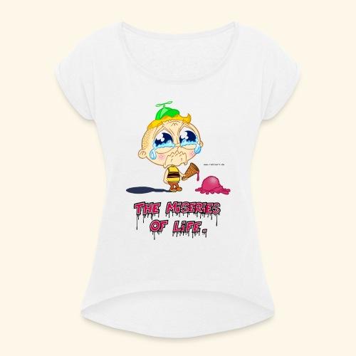 The Miseries of Life Eiscreme Eis Kind - Frauen T-Shirt mit gerollten Ärmeln