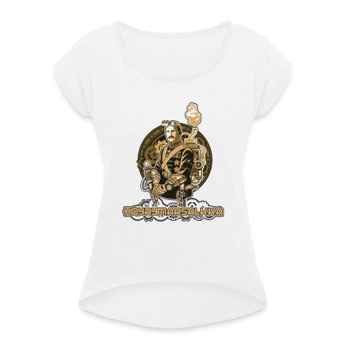 Höyrymarsalkan upea kangaskassi - Naisten T-paita, jossa rullatut hihat
