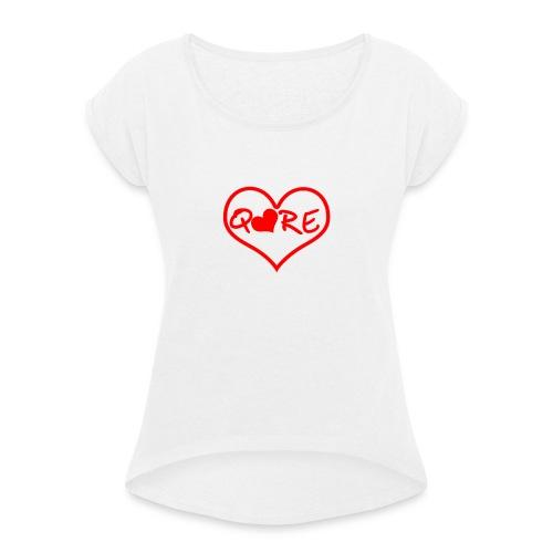 q❤re - Maglietta da donna con risvolti