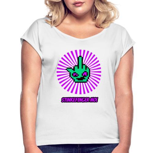 Round Logo mit Name - Frauen T-Shirt mit gerollten Ärmeln