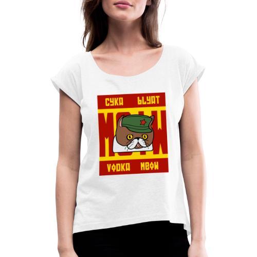 Soviet Meow 2 - Frauen T-Shirt mit gerollten Ärmeln