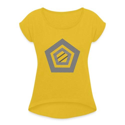 Naamloos-2-1-png - Vrouwen T-shirt met opgerolde mouwen
