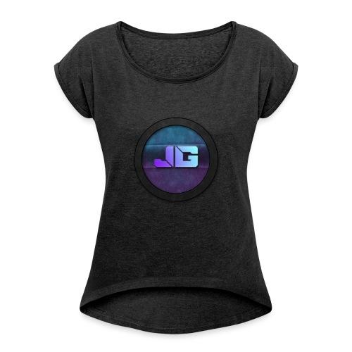 Pet met Logo - Vrouwen T-shirt met opgerolde mouwen