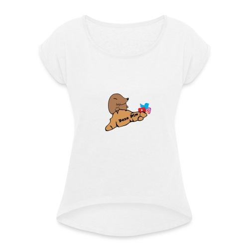 Deze Pim Kleding - Vrouwen T-shirt met opgerolde mouwen