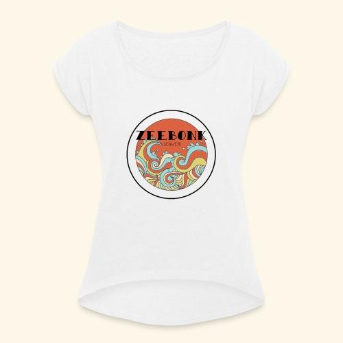 zeebonkwaves - Vrouwen T-shirt met opgerolde mouwen