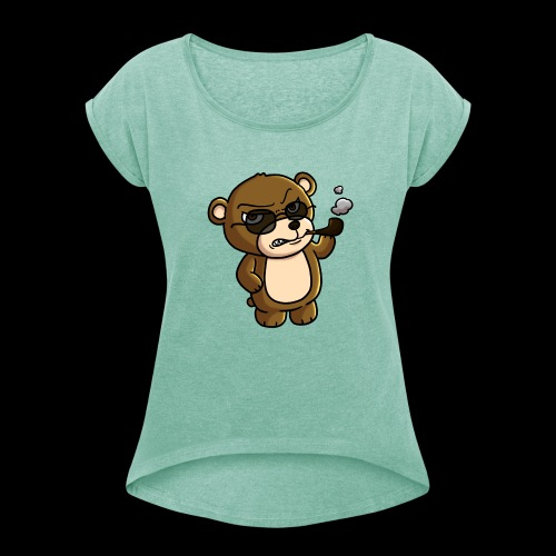 AngryTeddy - Women's T-Shirt with rolled up sleeves