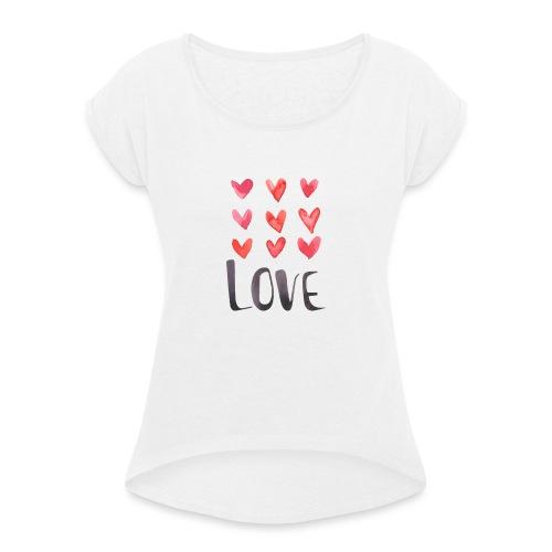 9xlove - T-shirt à manches retroussées Femme