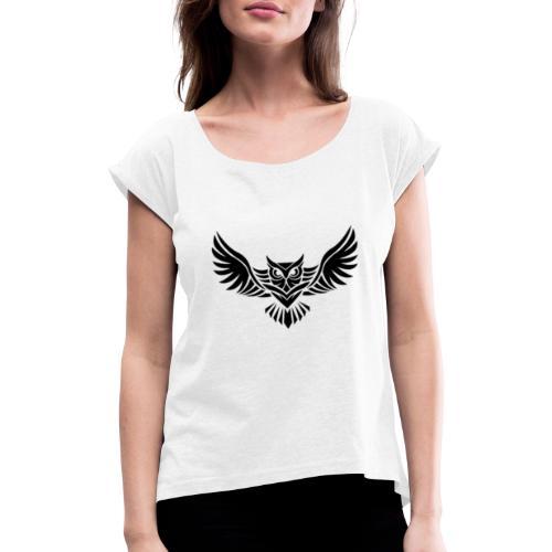 Hampan kläder owl - T-shirt med upprullade ärmar dam