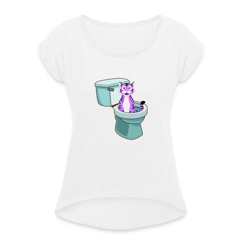 ToiletTijger - Vrouwen T-shirt met opgerolde mouwen