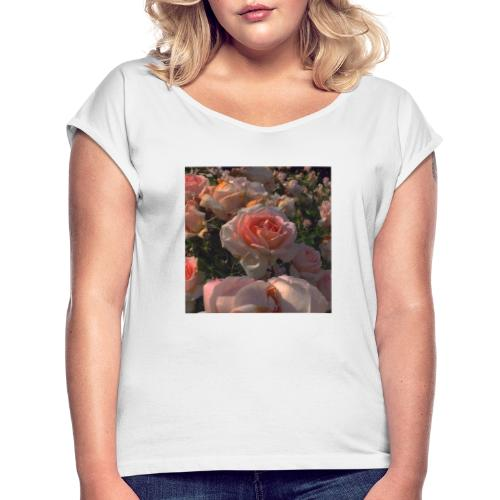 Roses - Camiseta con manga enrollada mujer