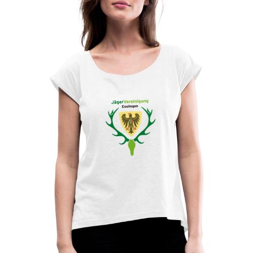 jaegervereinigung logo quadrat transparent - Frauen T-Shirt mit gerollten Ärmeln