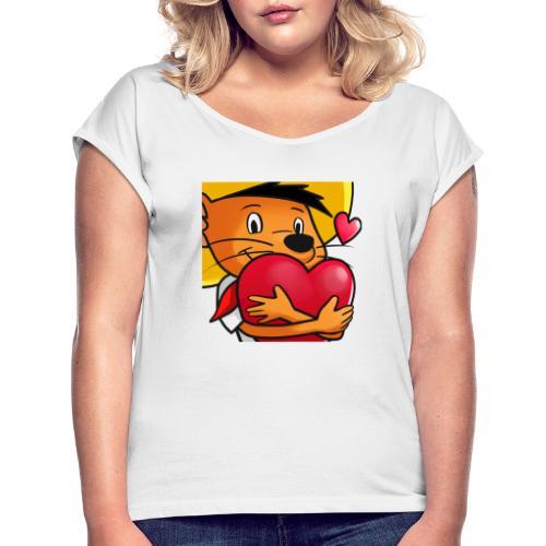 Love 3 copy - Dame T-shirt med rulleærmer
