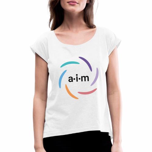 AIM Logo farbig - Frauen T-Shirt mit gerollten Ärmeln