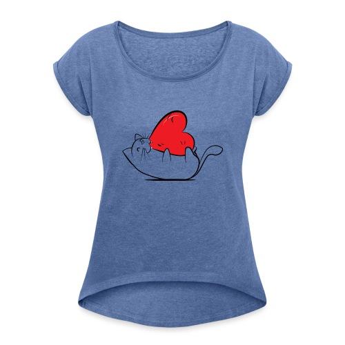 Cat Love - Vrouwen T-shirt met opgerolde mouwen