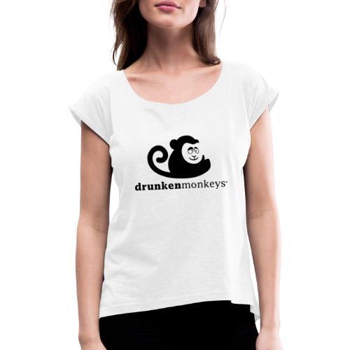 Logo Schwarz - Frauen T-Shirt mit gerollten Ärmeln