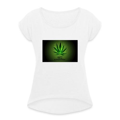 420 hash logo - Dame T-shirt med rulleærmer
