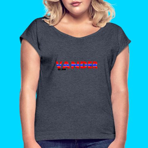 Vander in Red, white and blue. - Women's T-Shirt with rolled up sleeves