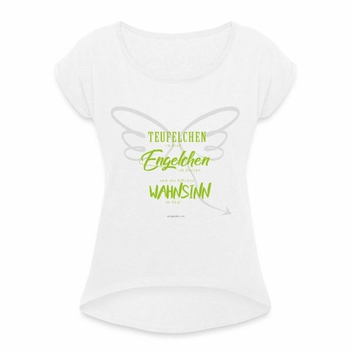 designbykiss (3) - Frauen T-Shirt mit gerollten Ärmeln
