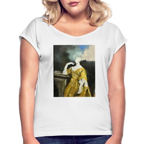 Donna sognatrice, in giallo. Arte da indossare. - Maglietta da donna con risvolti
