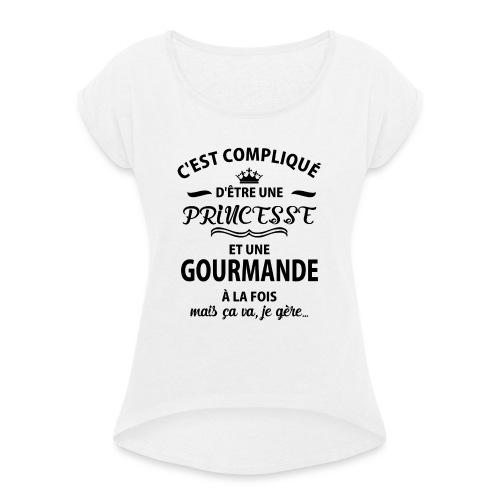 cxvxg - T-shirt à manches retroussées Femme