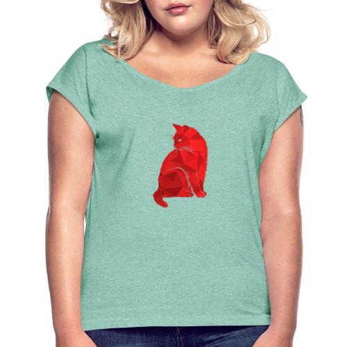 Cat - Frauen T-Shirt mit gerollten Ärmeln