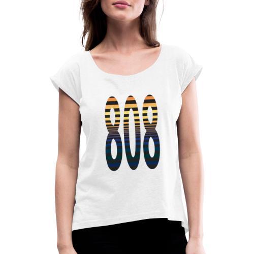 808 - Naisten T-paita, jossa rullatut hihat