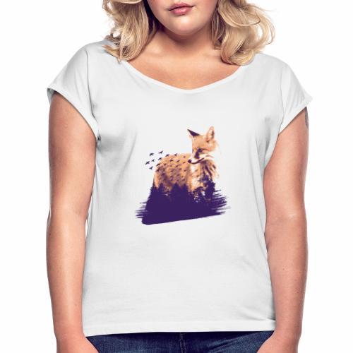 Fox forest - Frauen T-Shirt mit gerollten Ärmeln