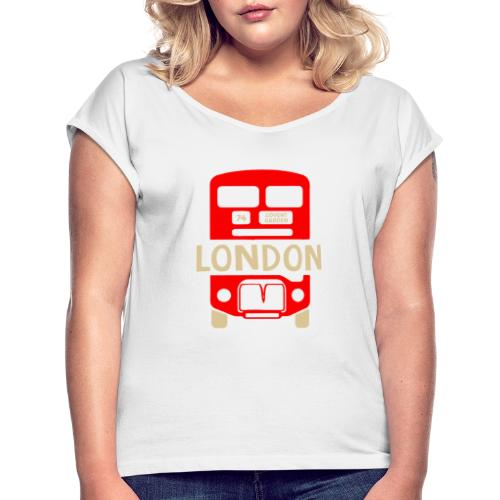 London Bus Roter Doppeldecker London Fan Souvenir - Frauen T-Shirt mit gerollten Ärmeln