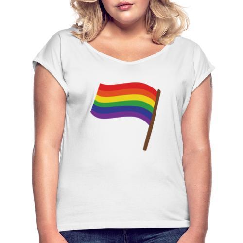 Regenbogenfahne | Geschenk Idee | LGBT - Frauen T-Shirt mit gerollten Ärmeln